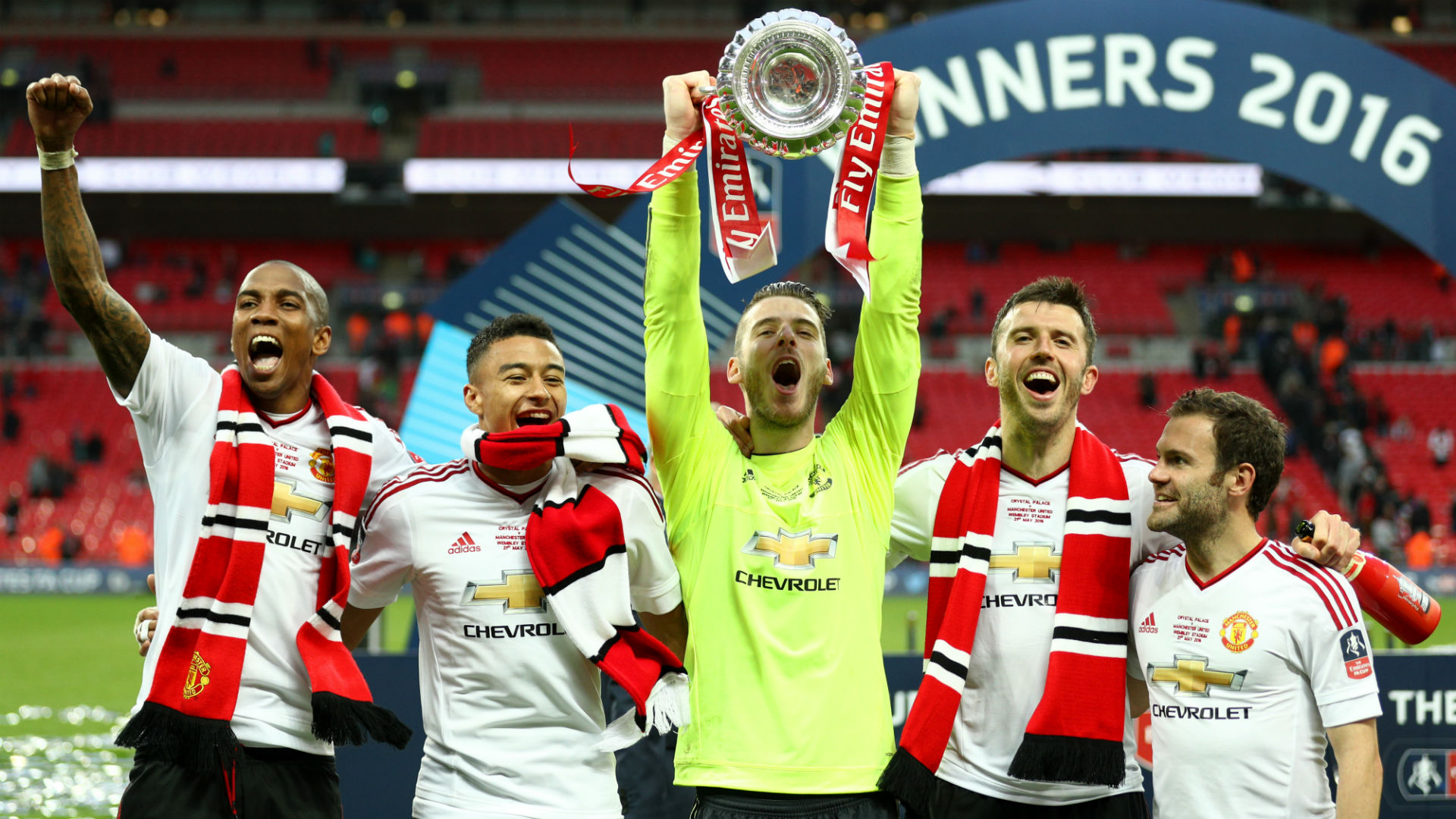 Manchester United FA Cup Young Lingard De Gea Carrick Mata