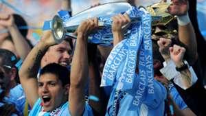 Sergio Aguero Manchester City Premier League trophy