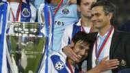 Jose Mourinho and his Porto team lift the Champions League trophy