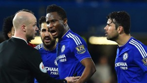 Mikel and Diego Costa row with a referee