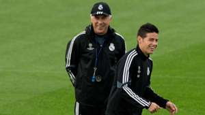 Carlo Ancelotti James Rodriguez Real Madrid Champions League training 03112014