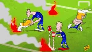 Cartoon Croatians extinguish fire flares