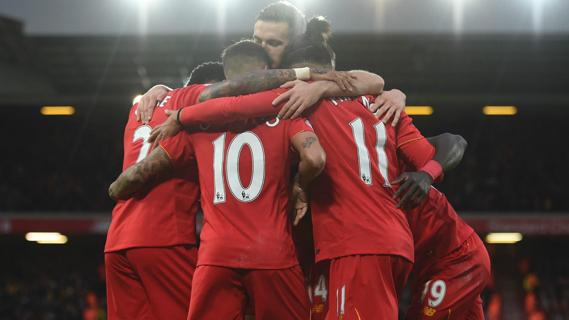Liverpool celebrate v Watford 6-1