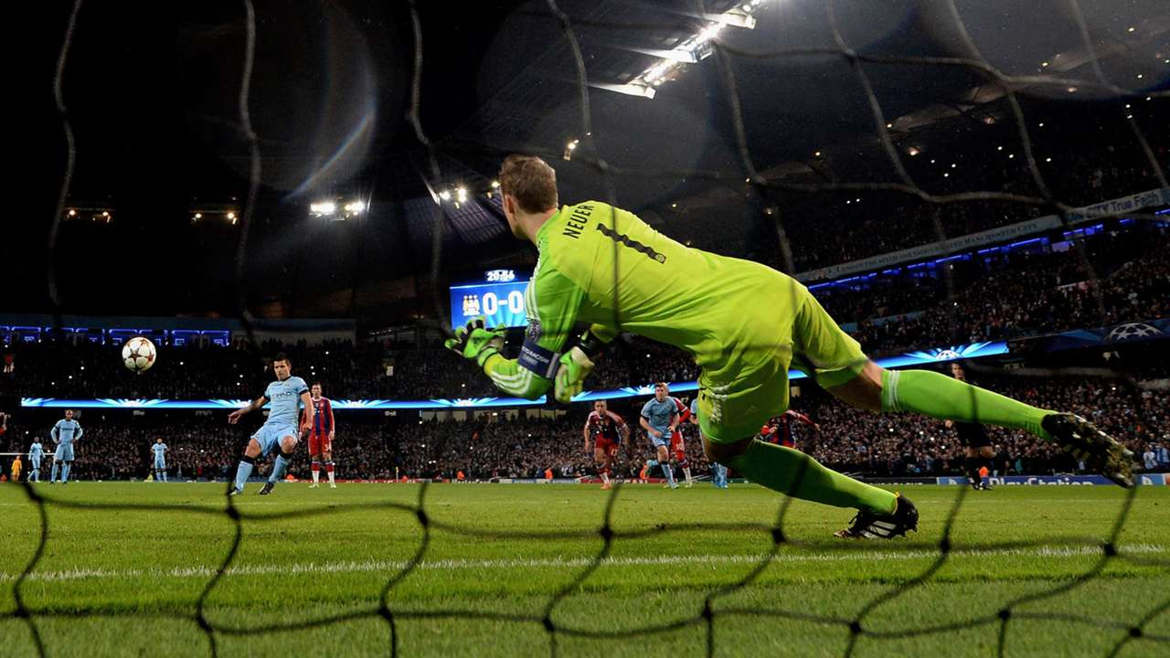 Sergio Aguero for Manchester City against Bayern Munich's Manuel Neuer