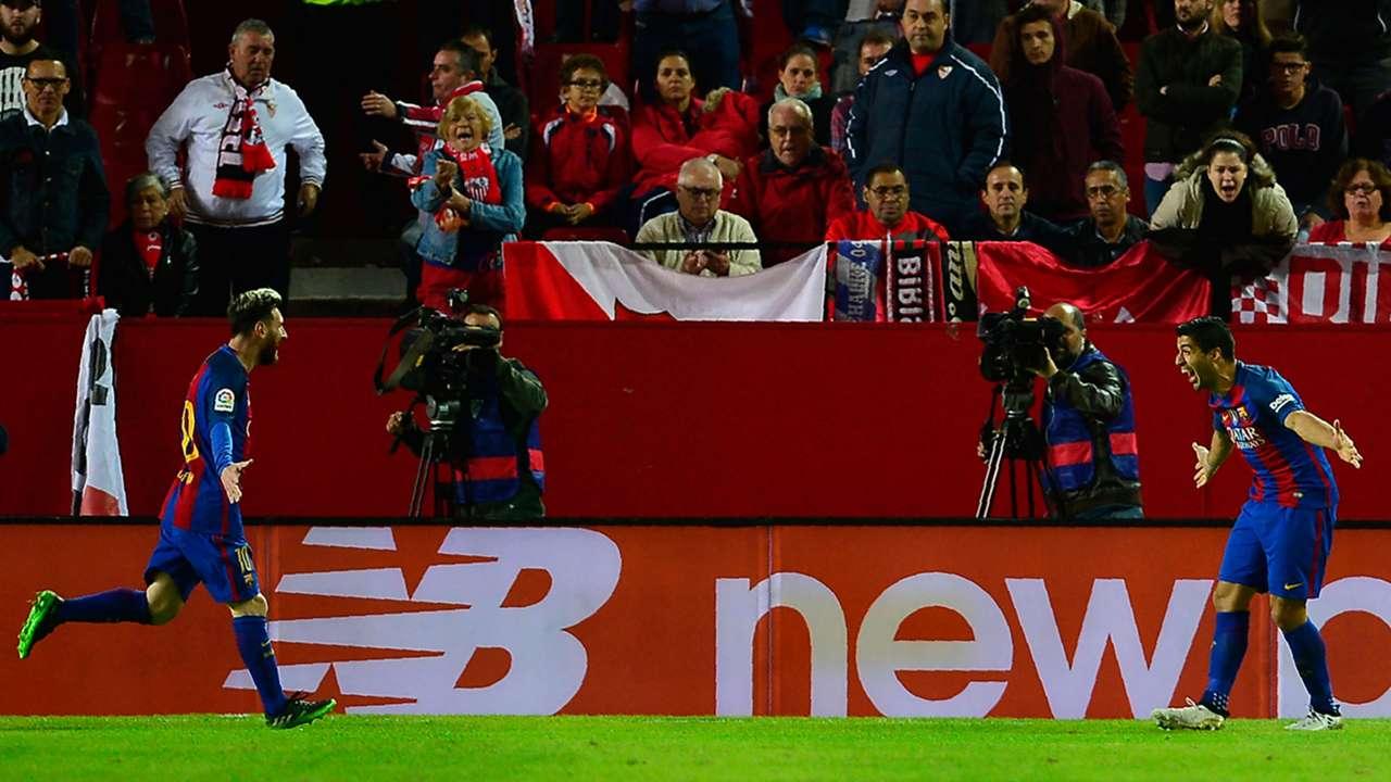 Lionel Messi Luis Suarez Barcelona Sevilla
