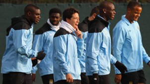 Mario Balotelli Vicent Kompany Micah Richards Samir Nasri Manchester City