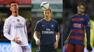 Cristiano Ronaldo Zlatan Ibrahimovic Neymar collage