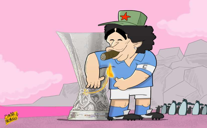 Diego Maradona Europa League cartoon