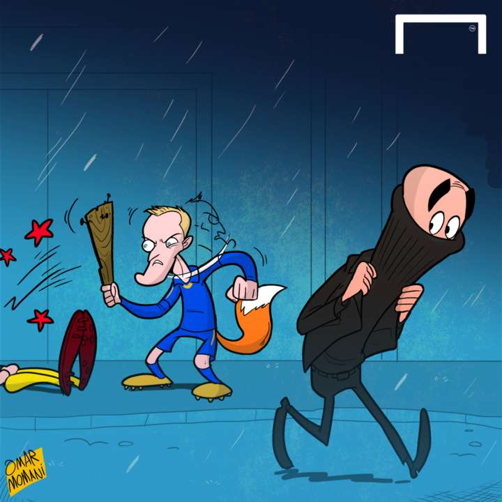 Cartoon Vardy searching for Pep