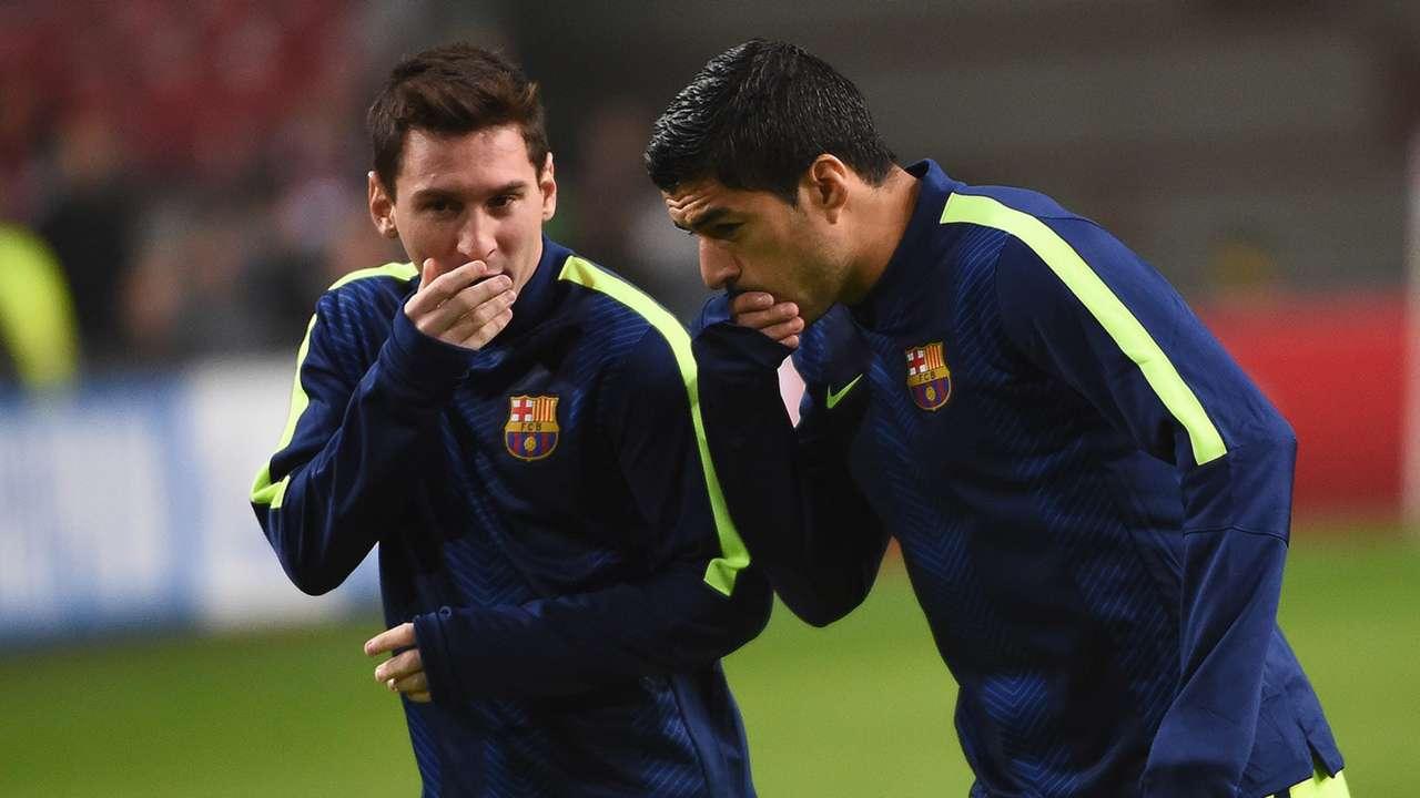 Lionel Messi Luis Suarez Barcelona Champions League 05112014