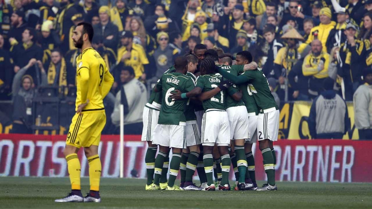 Portland Timbers celebrate Diego Valeri goal MLS CUP 20151206