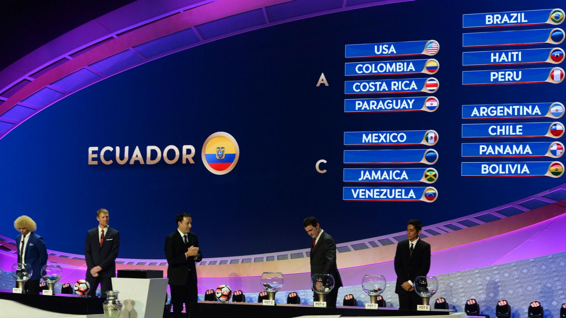 Copa America Centenario Draw Carlos Valderrama Alexi Lalas Mario Kempes Jorge Campos 02212016
