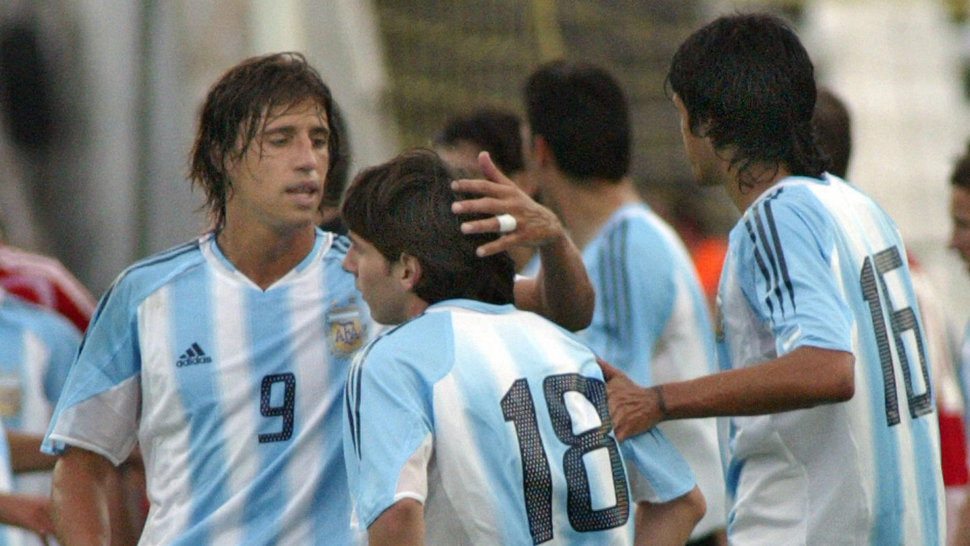 Crespo Messi Lucho Gonzalez Argentina Hungria Seleccion Budapest 17082005
