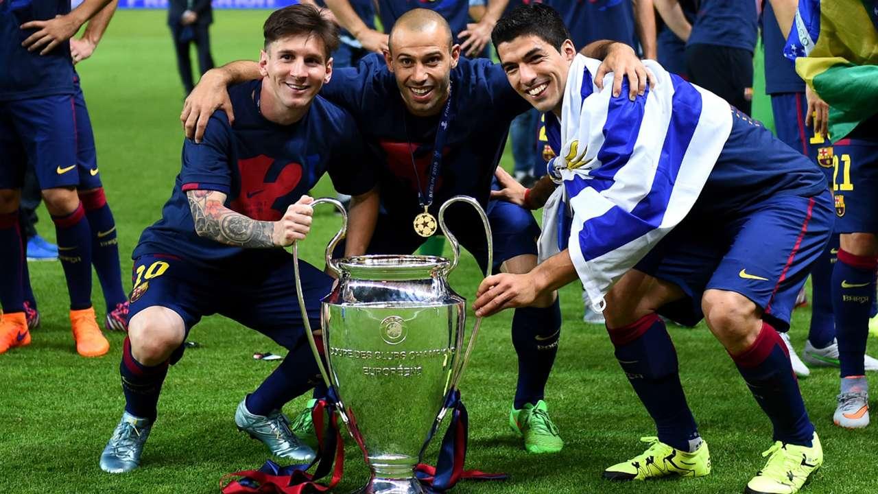 Lionel Messi Javier Mascherano Luis Suarez Barcelona Champions League 06062015