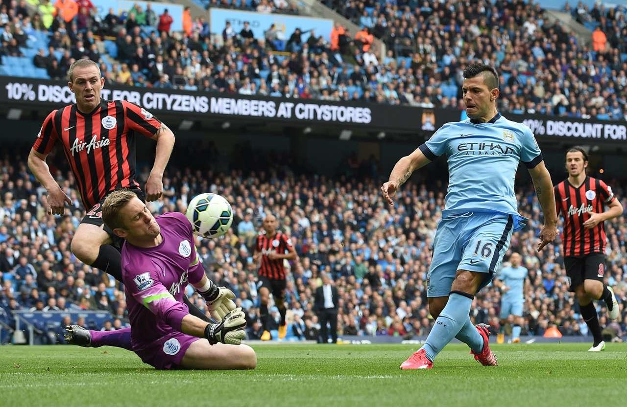 Sergio Aguero Manchester City Queens Park Rangers Premier League 10052015