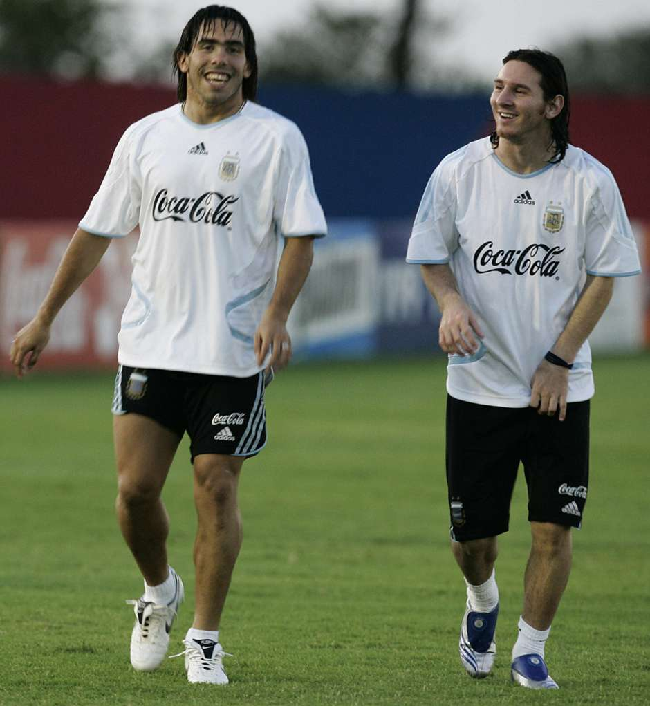 Image result for Carlos Tevez with Lionel Messi