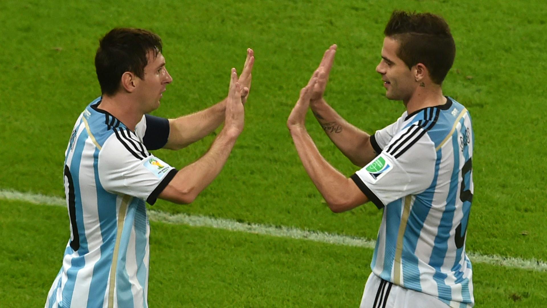 Lionel Messi Fernando Gago Argentina World Cup 2014