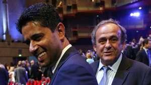 Nasser Al-Khelaifi Michel Platini Juliano Belletti UEFA Champions League Group stage draw ceremony 27082015