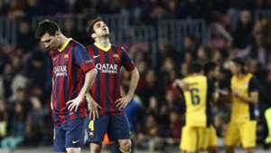 Lionel Messi Cesc Fabregas Barcelona Atletico Madrid Champions League 2014