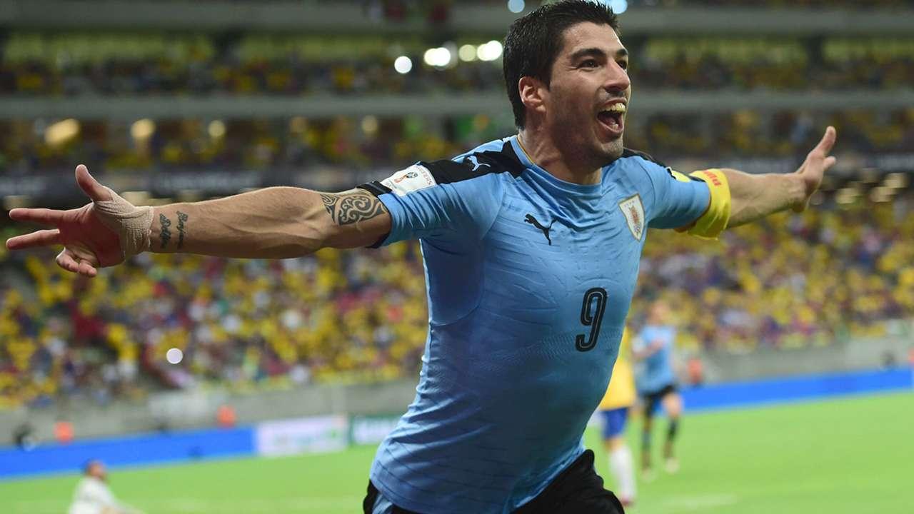 Luis Suarez Brasil v Uruguay Eliminatorias 25032016