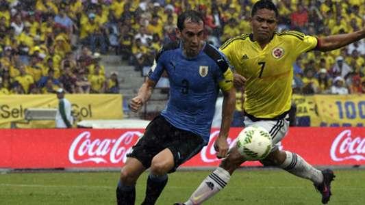 Diego Godin Carlos Bacca Colombia Uruguay Eliminatorias Sudamericanas 11102016