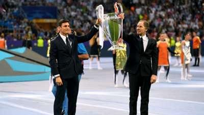 Javier Zanetti - Franco Baresi hold the UEFA Champions League trophy 28052016