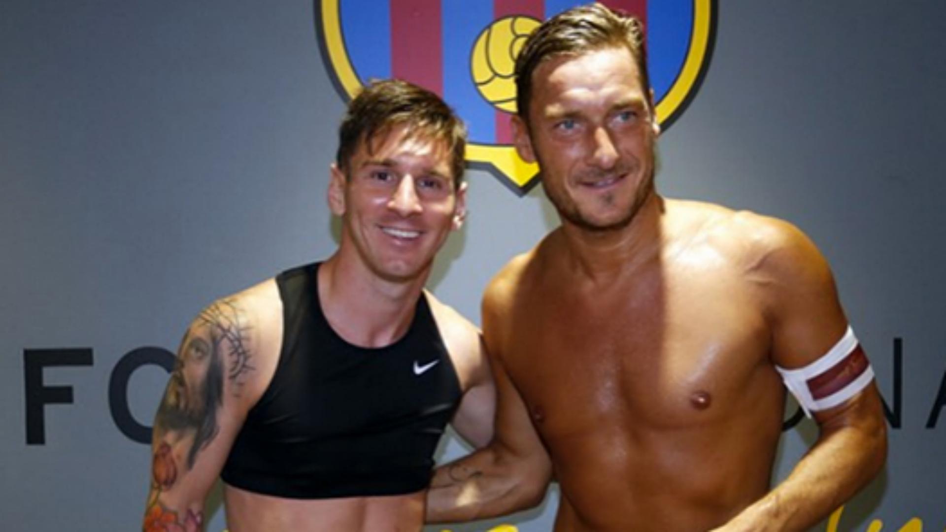 Messi y Totti, tras Barcelona-Roma, por el trofeo Joan Gamper