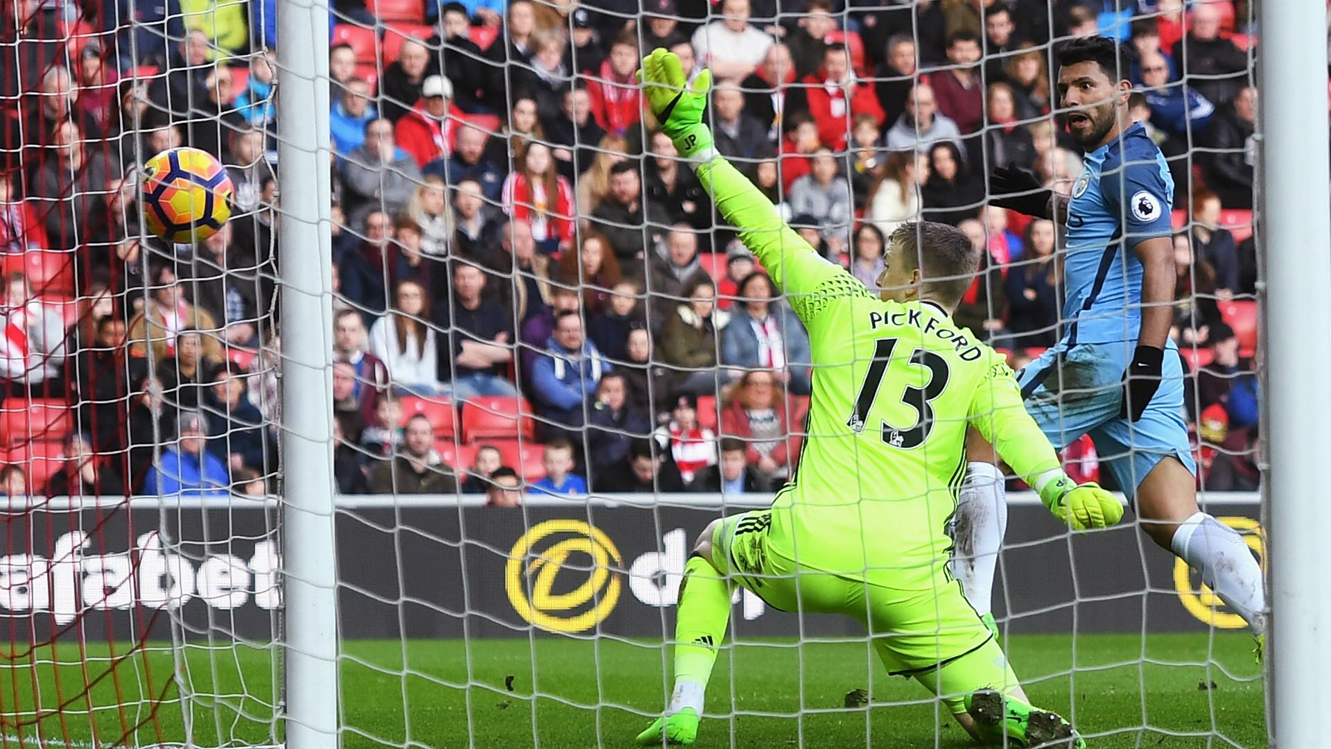 Sergio Aguero Jordan Pickford Sunderland Manchester City Premier League 05032017