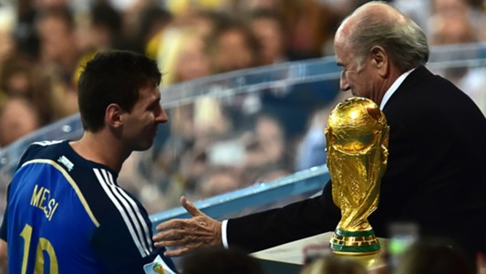 Lionel Messi Joseph Blatter Argentina Germany World Cup 2014 Trophy