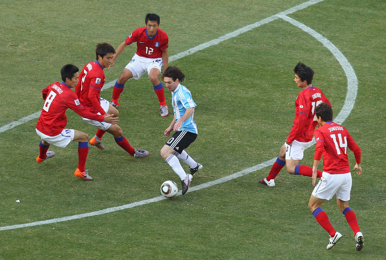 Messi contra Corea en el Mundial de 2010