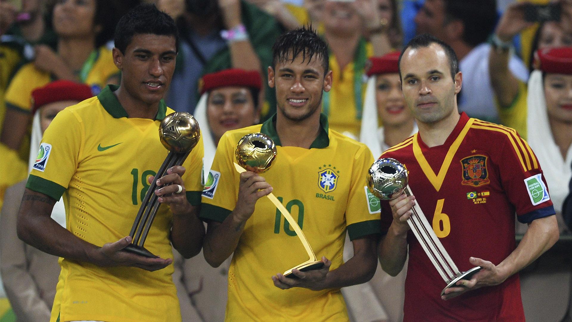 Neymar Andres Iniesta Paulinho Golden Ball Confederations Cup Brazil 2013