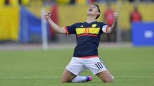 James Rodríguez celebra victoria de Colombia sobre Ecuador 28032017