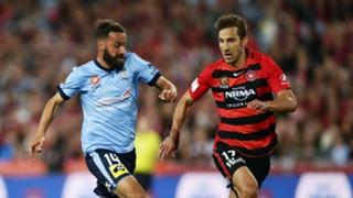 Alex Brosque Aritz Borda Western Sydney Wanderers v Sydney FC A-League 08102016