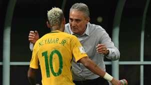 Neymar e Tite Brazil Colombia 0609