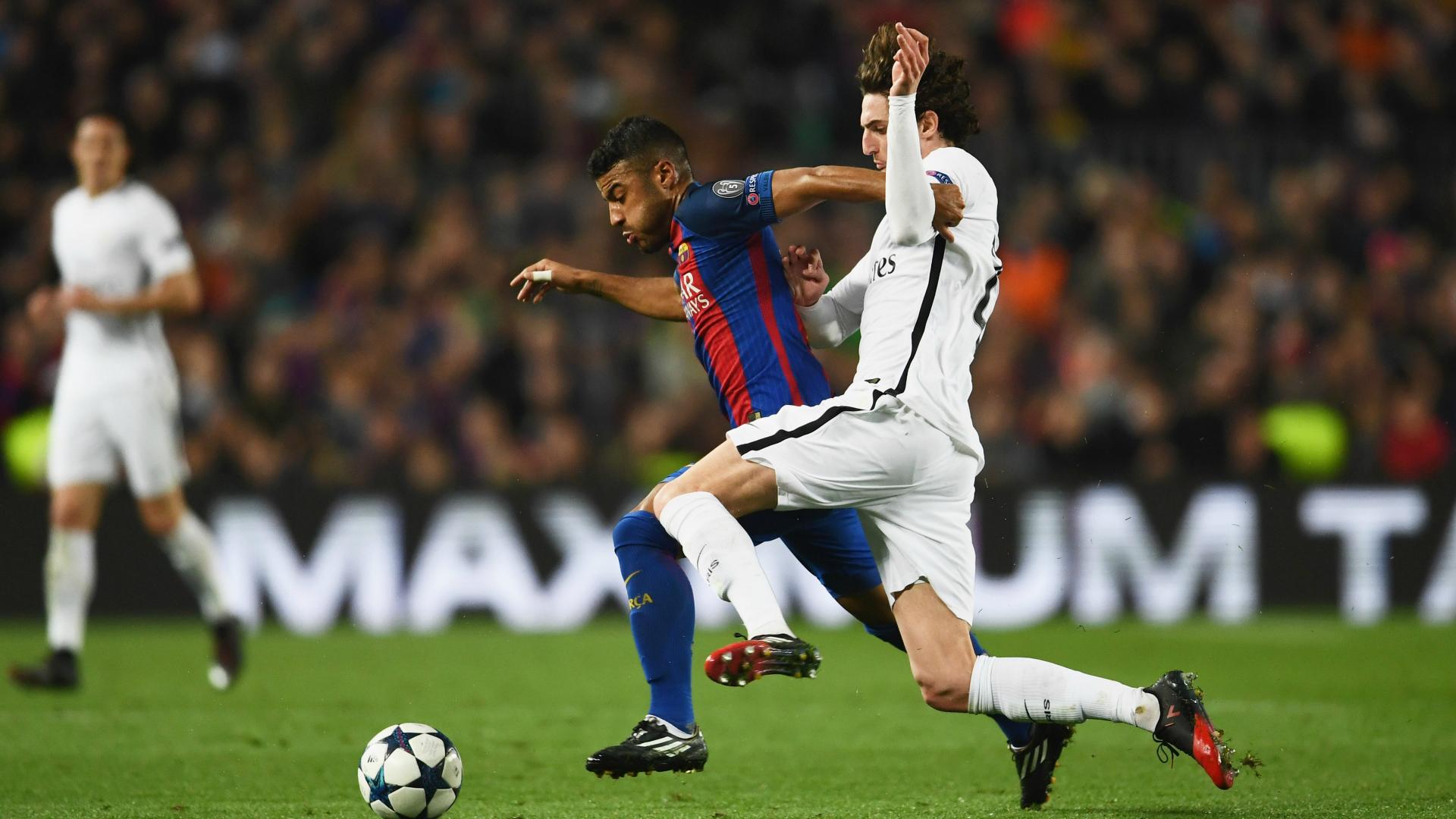 Adrien Rabiot e Rafinha Barcelona x PSG 08032017 Champions League