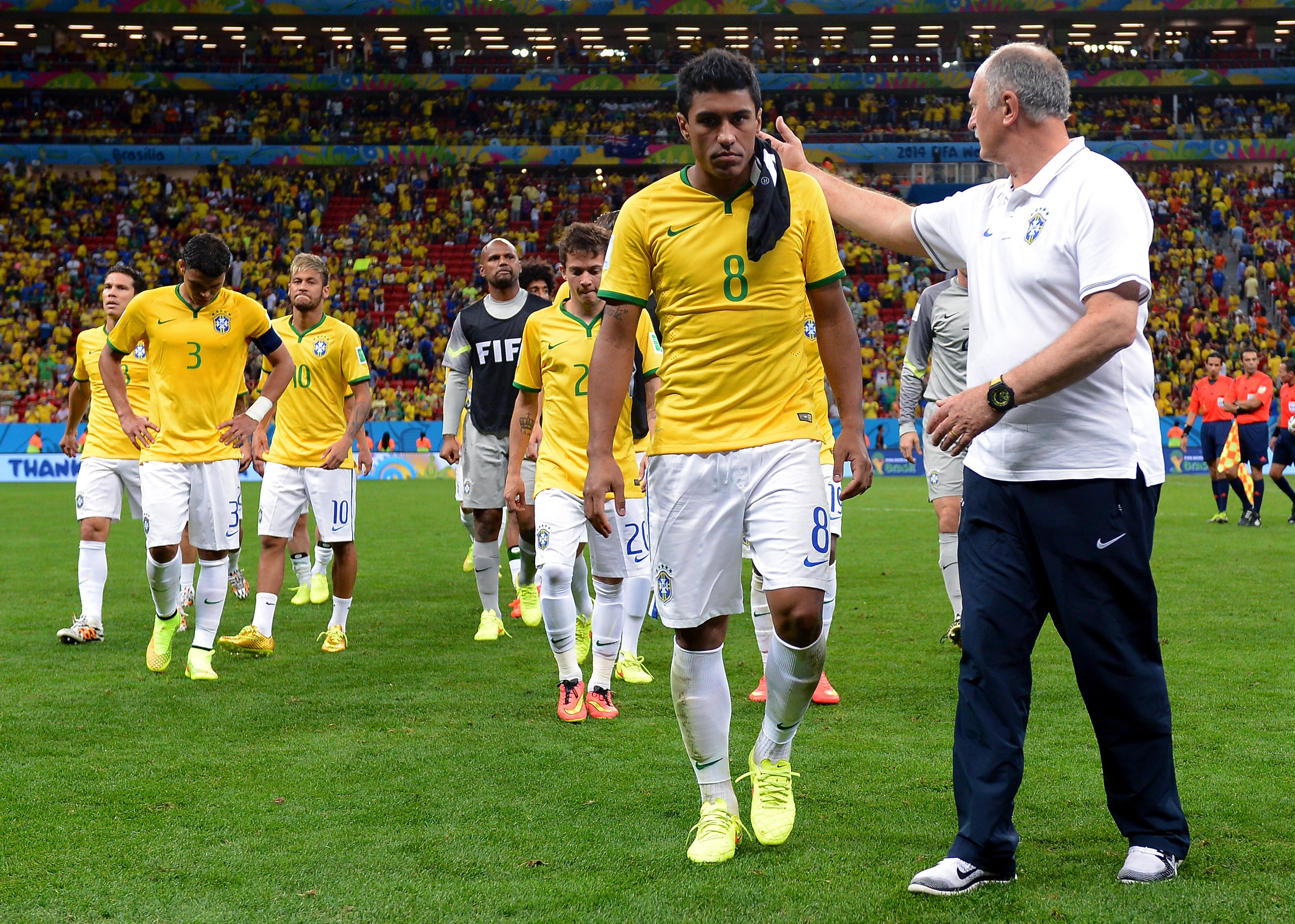 Paulinho and Scolari - Brazil and Netherlands - World Cup 140712