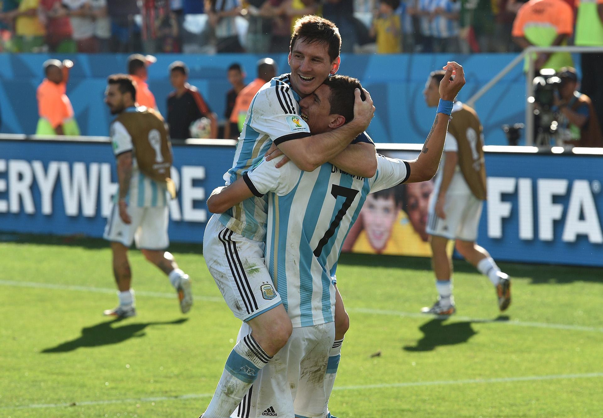 Lionel Messi Angel Di Maria Argentina Switzerland 2014 World Cup Last 16 07012014