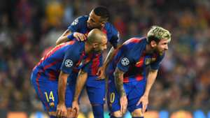 Neymar Messi Mascherano Barcelona Champions League 19102016