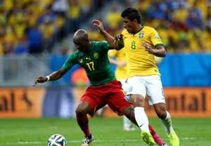 Stephane MBia Cameroon Paulinho Brazil 2014 World Cup Group A 06232014