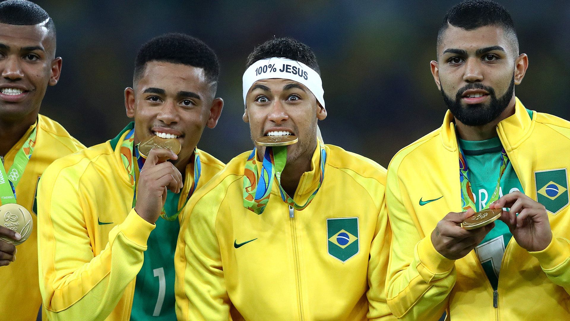 Neymar Gabriel Jesus Gabigol Brazil Gold Medal Rio 2016 Olympics