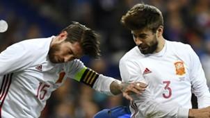 Sergio Ramos Pique Espanha amistoso 28 03 2017