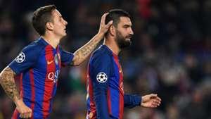 Lucas Digne Arda Turan Barcelona Gladbach UEFA Champions League 06122016