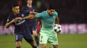 Marquinhos Luis Suarez PSG Barcelona Champions League R16 02142017