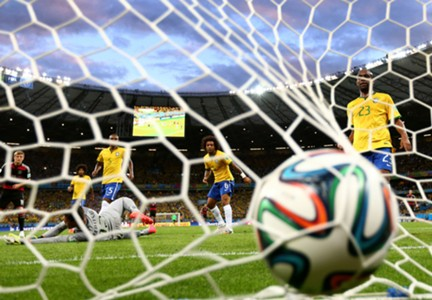 Ball in the net Brazil Germany 2014 World Cup quarter-final 07082014
