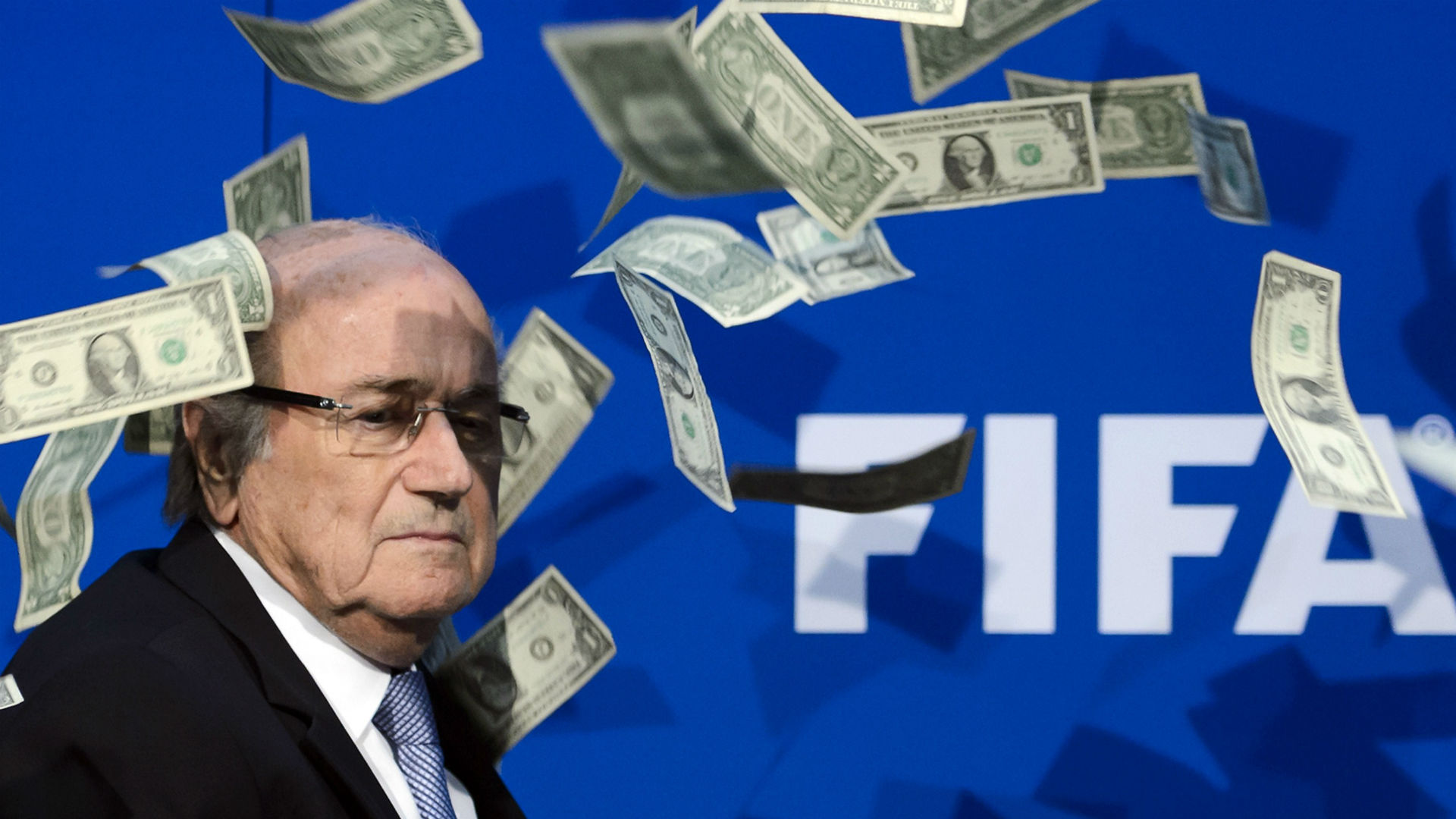 Sepp Blatter money thrown at Fifa press conference