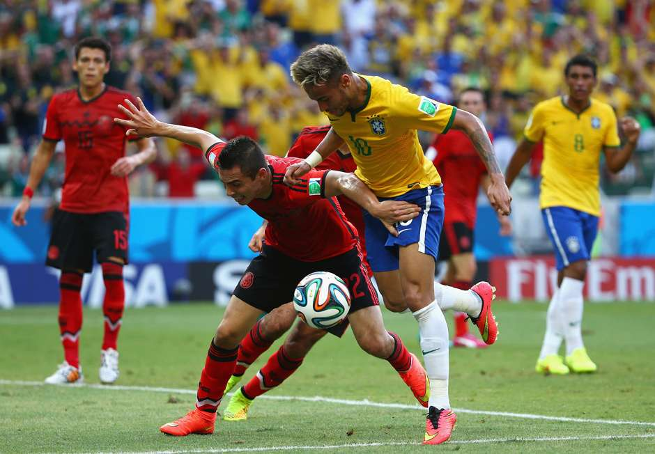 Neymar Brazil Paul Aguilar Mexico 2014 World Cup Group A 06172014