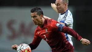 Cristiano Ronaldo Lars Jacobsen Portugal Denmark 2016 Euro Qualifiers 08102015