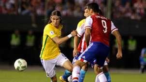 Filipe Luis Roque Santa Cruz Paraguay Brazil 2018 WC Qualifiers 03292016