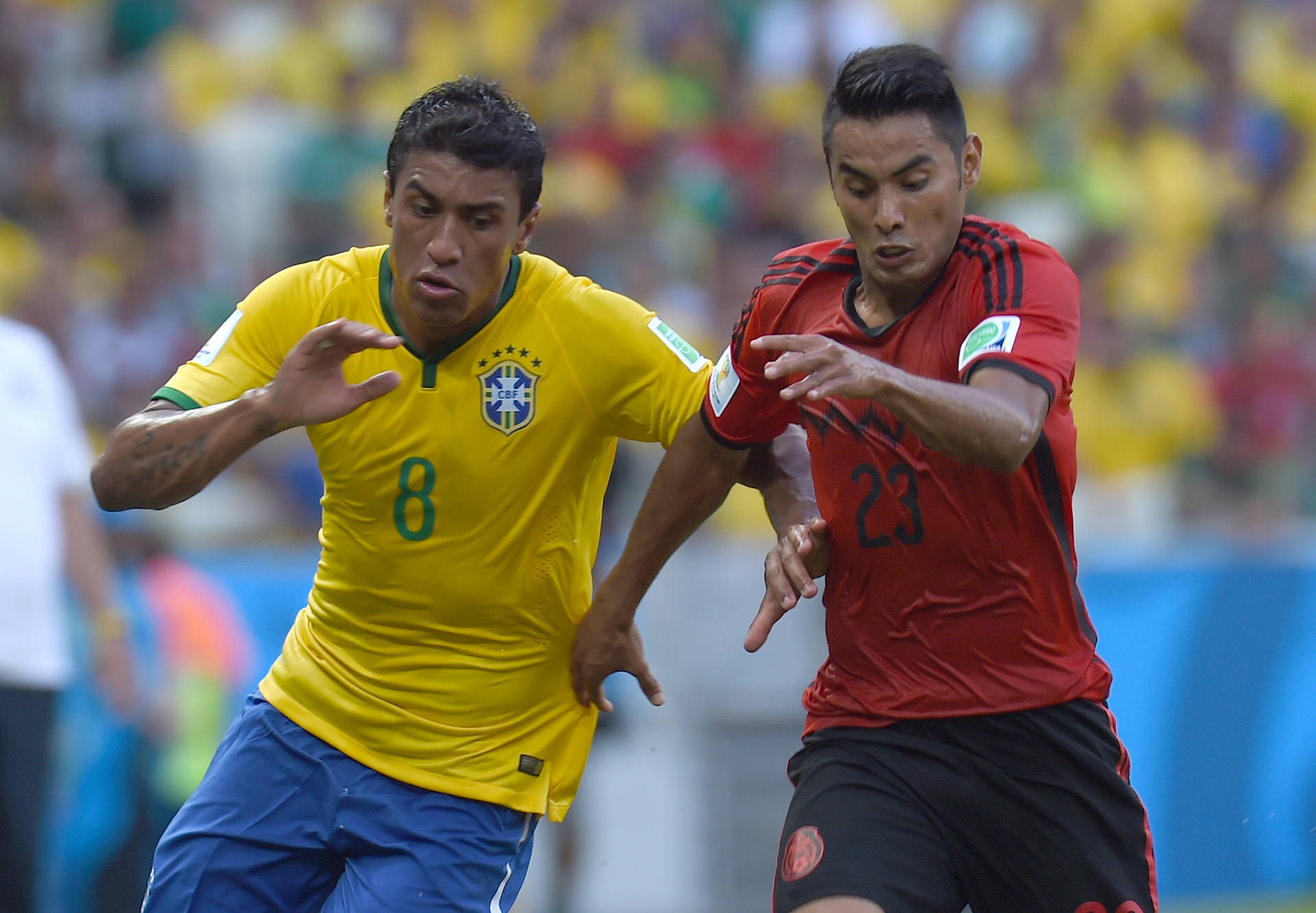 Paulinho Brazil Jose Vazquez Mexico 2014 World Cup Group A 06172014