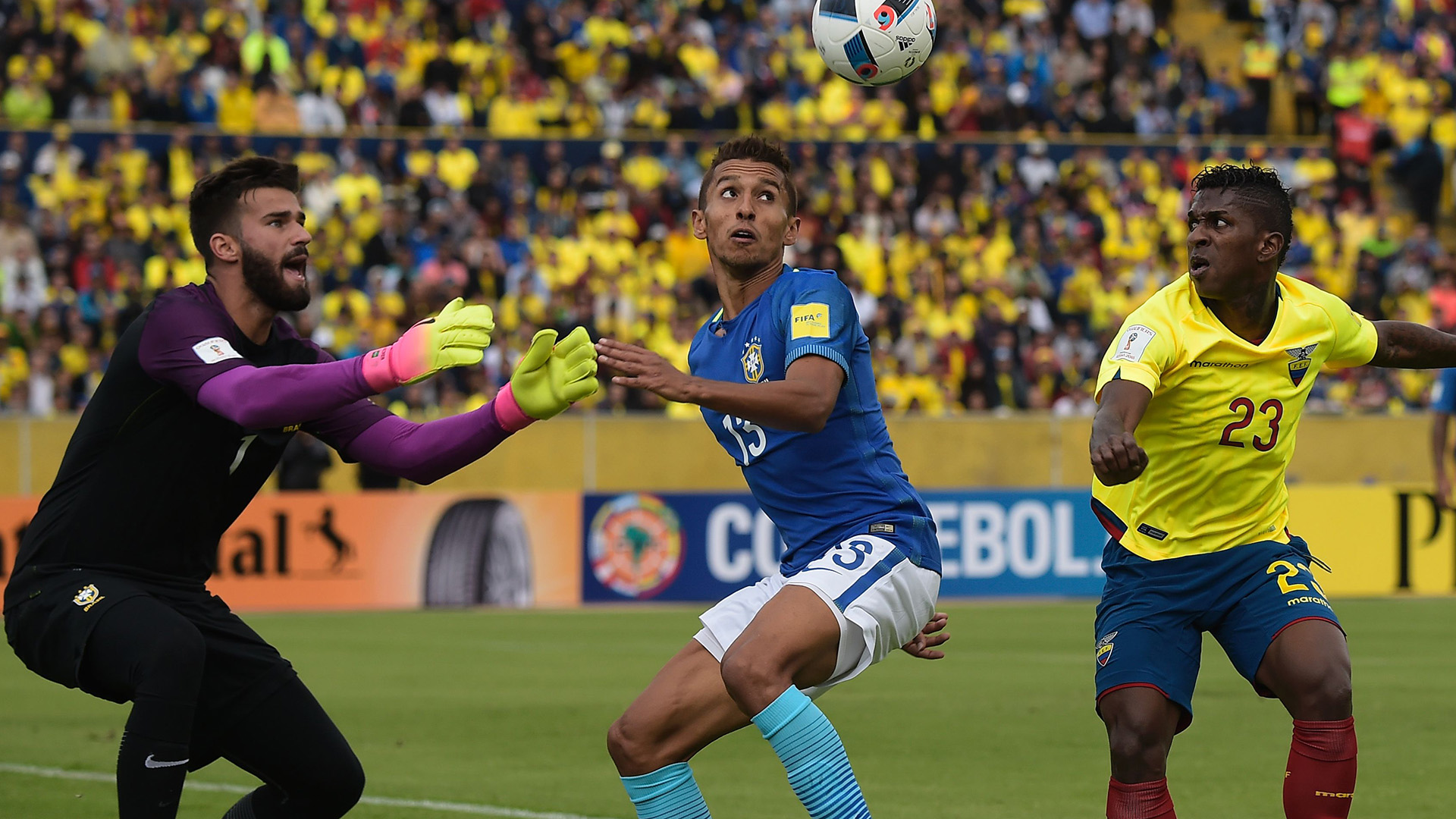Alisson Marquinhos Miler Bolaños Ecuador Brazil 2018 World Cup Qualifiers 01092016